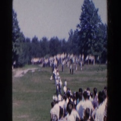 1961: people gathering in field RIDGEFIELD, NEW-JERSEY Stock Footage