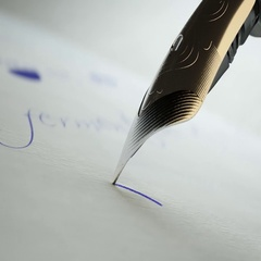 Writing With Silver Fountain Pen Nib Stock Footage