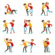 Two Boys Fist Fight Positions, Aggressive Bully In Long Sleeve Red Top Fighting Stock Illustration