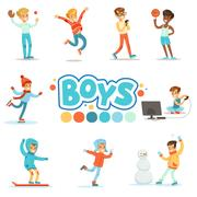 Happy Boys And Their Expected Normal Behavior With Active Games  Sport Practices Stock Illustration