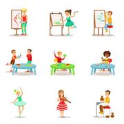Creative Children Practicing Different Arts And Crafts In Art Class And By Stock Illustration
