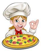 Cartoon Female Woman Pizza Chef Stock Illustration