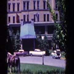 1958: three people standing outside in the daylight FRENCH LICK, INDIANA Stock Footage