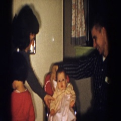 1958: cute little baby in high chair ALIQUIPPA, PENNSYLVANIA Stock Footage