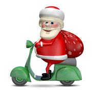 3D Illustration of Santa Claus on a Motor Scooter Stock Illustration