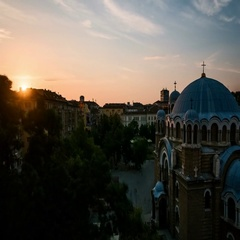 Sunset on a Bulgarian Orthodox church in Sofia Stock Footage