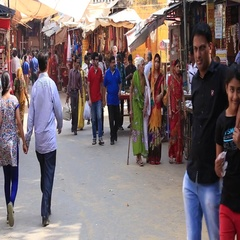 Indian people visit the holy city. Pushkar - famous worship place in India Stock Footage
