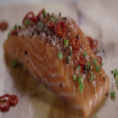 Fresh Salmon Steak Sprinkled With Olive Oil Stock Footage