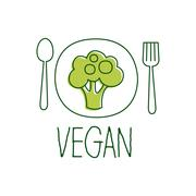 Fresh Vegan Food Promotional Sign With Broccoli On The Plate For Vegetarian Stock Illustration