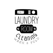Black And White Sign For The Laundry  Dry Cleaning Service With Washind Machine Stock Illustration
