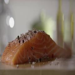 Fresh steak of fresh salmon sprinkled Stock Footage