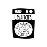Black And White Sign For The Laundry  Dry Cleaning Service With Wash  Fold Offer Stock Illustration