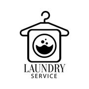 Black And White Sign For The Laundry  Dry Cleaning Service With Hanger  Washing Stock Illustration