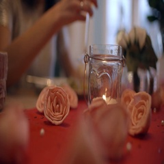 Close Up Of Romantic Couple Enjoying Valentines Day Meal Stock Footage