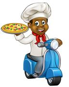 Cartoon Pizza Chef on Delivery Moped Scooter Stock Illustration