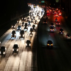 Zoom Out - Traffic on the 101 Freeway in Los Angeles - Night Stock Footage