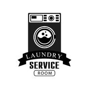 Black And White Sign For The Laundry  Dry Cleaning Service With Dark Color Stock Illustration