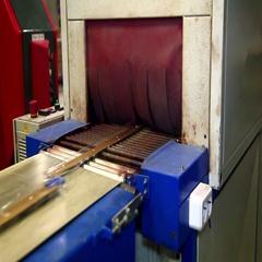 Conveyor for transport of aluminium profiles. Stock Footage