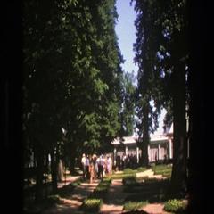 1975: people gathering in yard DENMARK Stock Footage