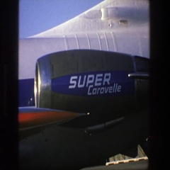 1975: image of a modern and gigantic plane at the airport before traveling Stock Footage