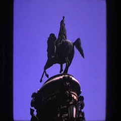 1975: statue of native american on horse and view of building DENMARK Stock Footage