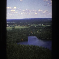 1975: river landscape and castle in the woods DENMARK Stock Footage