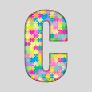 Puzzle Letter Alphabet - C. Colored Puzzle Piece. Stock Illustration
