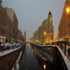 Griboedov Canal in heavy snow at night. St.Petersburg, Russia Stock Footage