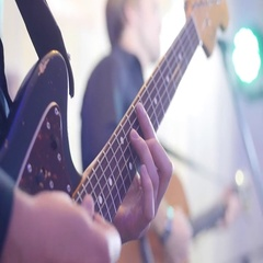 Musician performs solo at rock concert in night club. Inspiration rehearsal band Stock Footage
