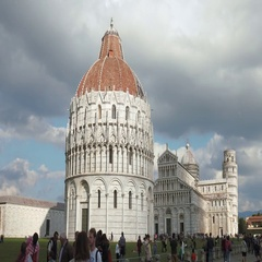 Tourists visit Piazza dei Miracoli with the leaning tower of Pisa Stock Footage