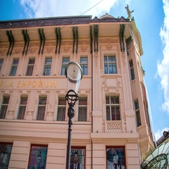 Light orange exterior of the art nouveau shopping mall Stock Footage