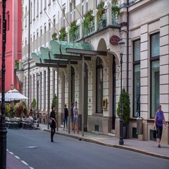 The entrance to Grand Hotel Union  Stock Footage