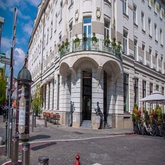Gorgeous art nouveau building which is now a famous hotel in the city center Stock Footage