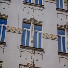 Stunning architecture of a art nouveau building in Ljubljana downtown Stock Footage