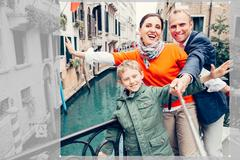 Happy family take a self photo on the one of bridges in Venice Stock Photos