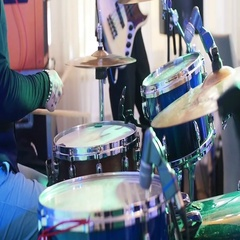 No face musician play drums with sticks performs live nightclub festival stage Stock Footage