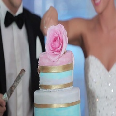 Wedding cake cut hands no face close up slow motion knife rose detail decoration Stock Footage