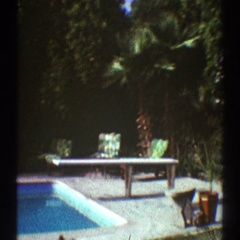 1969: a white house that is lined with windows and doors LOS ANGELES CALIFORNIA Stock Footage