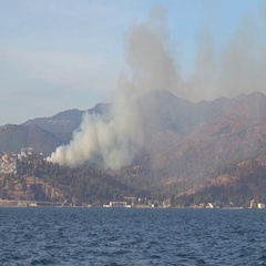 Fire at the far shore of the Gulf of Izmir Stock Footage