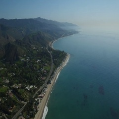 Pch looking south pt dume and zuma Stock Footage