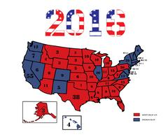 Presidential Electoral Maps 2016 eps Stock Illustration