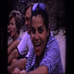 1969: a woman who is smiling and drinking outside UTAH Stock Footage