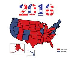 Presidential Maps 2016 Colored eps Stock Illustration