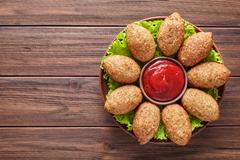 Kibbeh homemade beef, lamb, goat or camel meat stuffed bulgur kofta spicy Stock Photos