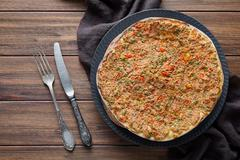 Lahmacun traditional turkish delicious armenian pizza with minced beef or lamb Stock Photos
