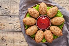 Kibbeh traditional middle eastern restaurant lamb goat or camel meat stuffed Stock Photos