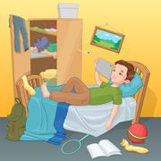 Lazy young boy lying on bed with tablet. Cartoon vector illustration. Stock Illustration