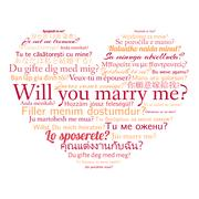 Phrase will you marry me in different languages. Stock Illustration