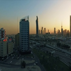 Kuwait skyline at sunset. Some famous places in Kuwait shooting from the sky Stock Footage