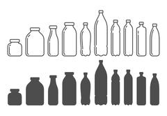 Plastic and glass bottles, containers. Stock Illustration